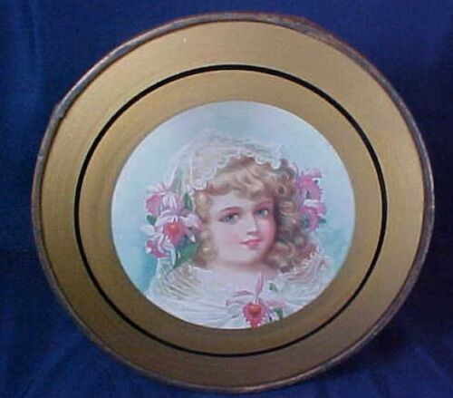 Antique Round Flue Cover Little Girl Flowers in Hair Metal Frame & Chain