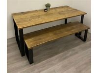 BRAND NEW: Rustic Dining Table & Bench