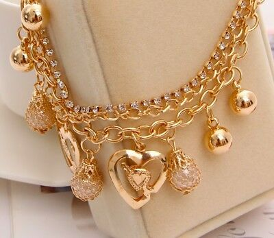 18k Gold Womens Adjustable Anklet Ankle Bracelet Heart Pearl Bell Layer D107