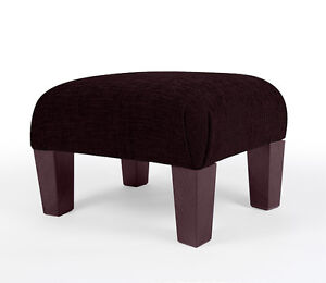 NEW FOOTSTOOL OTTOMAN FOOT REST SMALL - LARGE POUFFE FABRIC STOOL BLACK BROWN