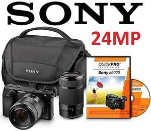 REFURB SONY A6000 24MP CAM BUNDLE Lens Bundle with 18-55mm Lens, 55-210 Lens,  CAMERA CASE ELECTRONICS - 1 107429621
