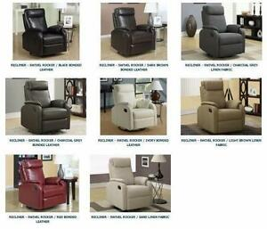 8 Colors available ! RECLINER – SWIVEL ROCKER / BONDED LEATHER FABRIC -- Free Delivery !