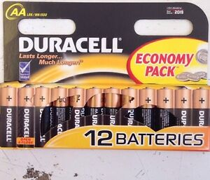 12 Pack DURACELL AA Batteries MN1500 LR6 Alkaline Battery 2019 Exp:
