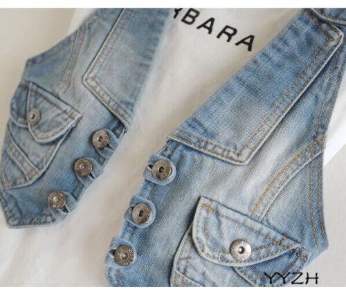 Details about  /Women Retro Backless Button Up Jean Slim Fit Denim Coat Vest Tops Ladys Fei34