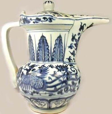 "19thC Blue + White ""Ming Style"" Phoenix Bird ""Dragon's Bride"" Porcelain Decanter"