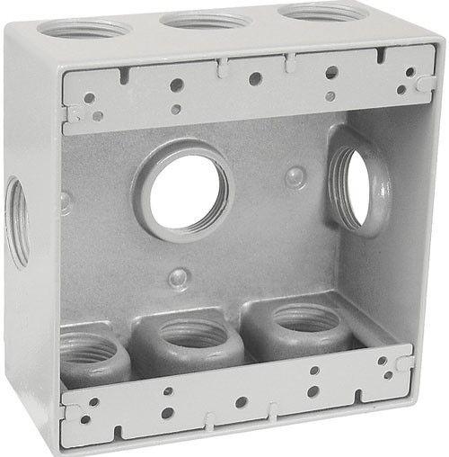 "(1 pc) Weatherproof 2-Gang GRAY Metal Box w/ Nine 1/2"" Holes Weather Resistant"