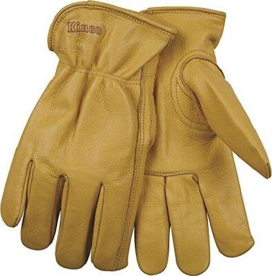 Kinco 98 Unlined Grain Cowhide Glove, Keystone Thumb, Shirred Elastic Back, Gold Shirred Unlined Gloves