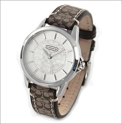 NWT AUTHENTIC COACH 14501525 CLASSIC SIGNATURE KHAKI FABRIC STRAP WOMEN'S WATCH