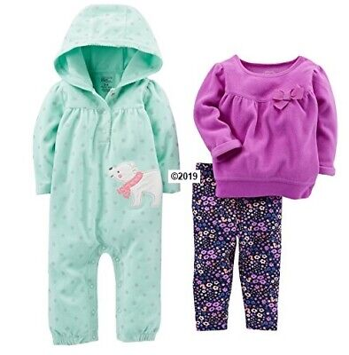 Simple Joys By Carters Baby Girls 3-Piece Bear/Floral Playwear Set Size 12M