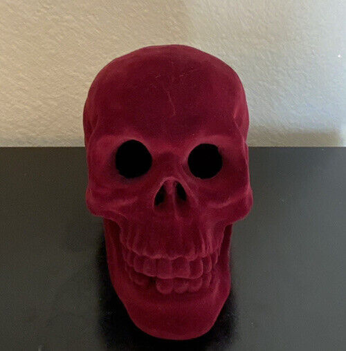 Halloween Deep Red Velvet Skull Head