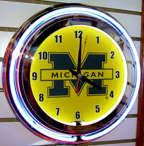 Michigan Wolverines Double Ring Neon Clock
