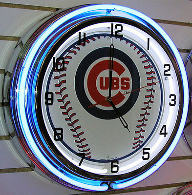 Chicago Cubs Baseball Sign Large Neon Clock