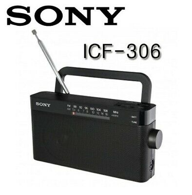 SONY ICF-306 Portable Radio AM/FM Embed Speaker Black Audio Speakers Home