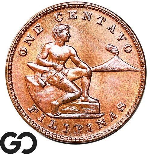 1932-M Philippines 1 Centavo, Bronze, Very Nice