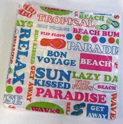 Beach Text Theme Paper Cocktail Napkins 64392 - Beach Themed Paper