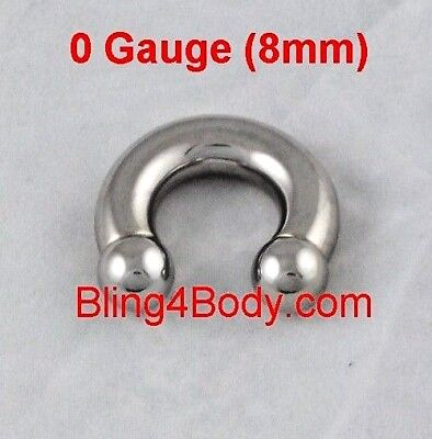 "0 Gauge 5/8""(16mm)316L Surgical Quality Circular Barbell Horseshoe Mirror Finish"