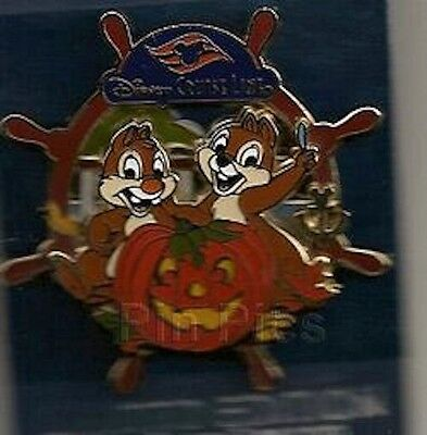 DISNEY PIN CHIP AND DALE HALLOWEEN WHEEL PUMPKIN DCL CRUISE LINE HTF - Disney Halloween Cruise
