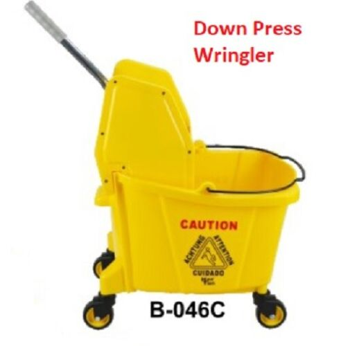 Commercial Mop Bucket Wringer 24L 25- qt Yellow Down Press -pick up Only