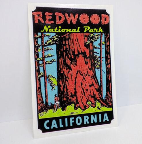 Redwood National Park Vintage Style Travel Decal, Vinyl Sticker, Luggage Label