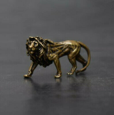 China's archaize pure brass lion small statue #6