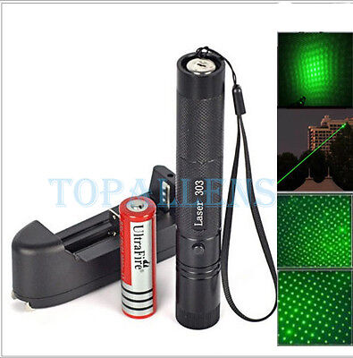 Powerful Green Laser Pointer 303 1mw 532nm Focus Beam Light Pen+18650 Charger UK