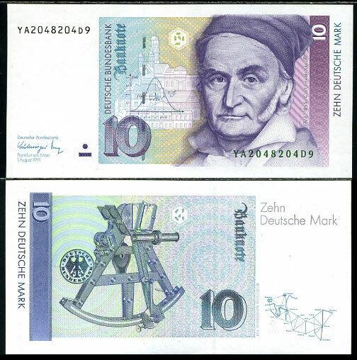 GERMANY 10 MARK 1991 P 38 YA REPALCEMENT UNC
