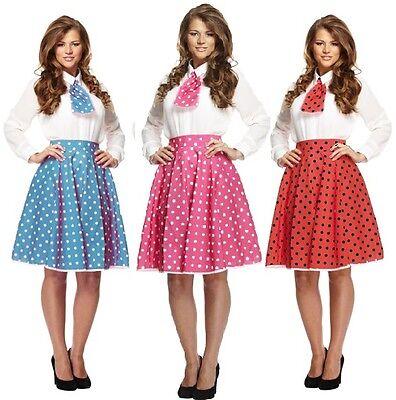 Damen Sexy 1950er Jahre Gepunktet Rock Passend Halstuch Kostüm Kleid Outfit ()