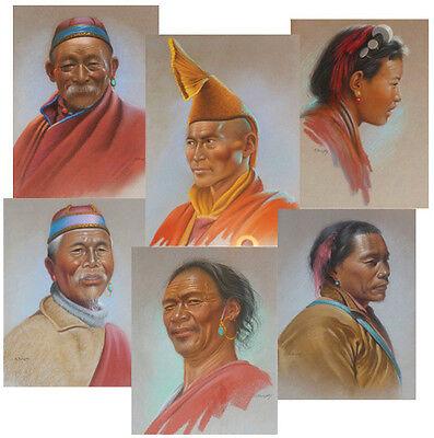 1955 Rare DOUGLAS GORAY Art - Tibet Hill People - SIX ORIGINAL PASTEL PAINTING