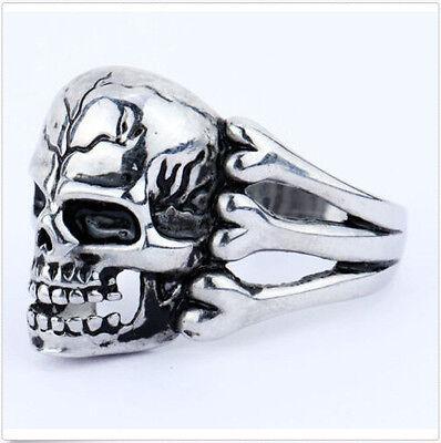 Totenkopf Ring Shield Skull Edelstahl Massiv Biker Gothic silber Herren Damen! (Biker Ringe)