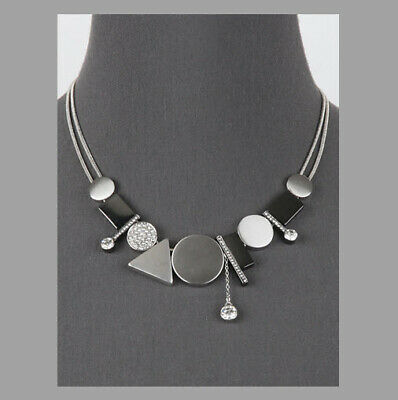 MARNI H&M SATIN RHODIUM+HEMATITE NECKLACE