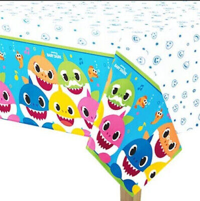 BABY SHARK DooDooDoo Happy Birthday Party paper TABLECLOTH 1 table cover fish