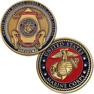 USMC Camp Lejeune Challenge Coin 44mm United States Marine Corps Base Semper Fi