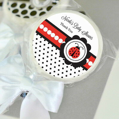 24 Ladybug Theme Personalized Lollipops Lollipop Baby Shower Birthday - Ladybug Themed Party