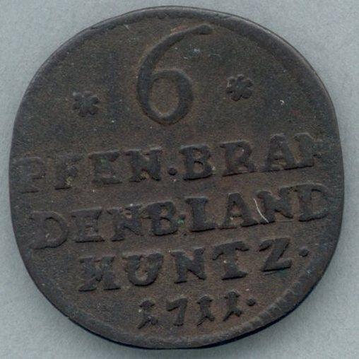 Brandenburg KM-39 6 pfennig 1711 VF-