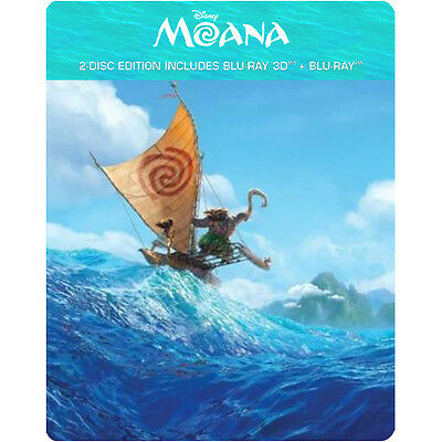 Moana  2016   Steelbook   Blu Ray 3D   Blu Ray   2 Disc  All Region   New