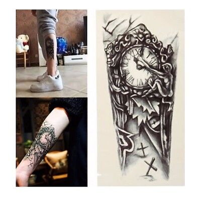Gothic Clock Graphic Temporary Tattoo Body Art Stickers Removable Waterproof Ebay