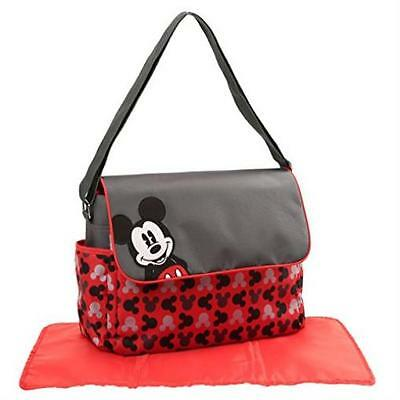 Disney Mickey Mouse Toss Heads Print Diaper Bag With Mickey Applique On Flap Eve