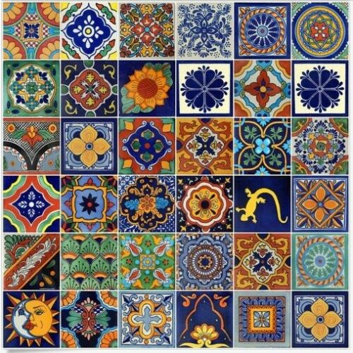 Set Of 100 4x4  Mexican Ceramic Tiles Folk Art  Mixed Designs