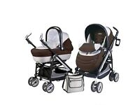 Peg Perego Pliko Switch Compact buggy/stroller/pushchair + moses basket/bassinet + bassinet stand