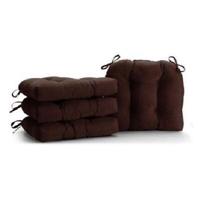 Rich Brown Set of 4 Dining Chair Cushions Soft Plush Tufted With Ties 14.5 x 16
