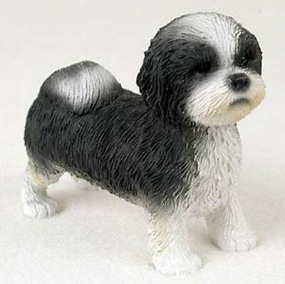 SHIH TZU (Black White Puppy Sport Cut) DOG Figurine Statue Hand Painted Resin