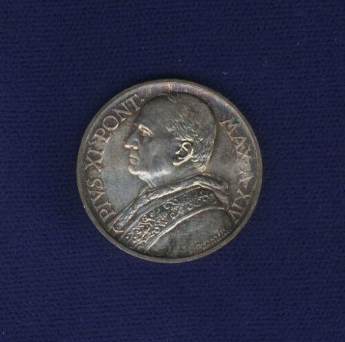 VATICAN  PIUS XI  1935 AN. XIV 5 LIRE SILVER COIN, CHOICE UNCIRCULATED