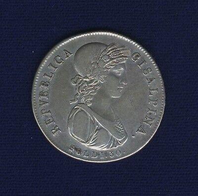 ITALY /ITALIAN STATES  CISALPINE REPUBLIC  (1801) 30 SOLDI SILVER COIN, XF, NICE