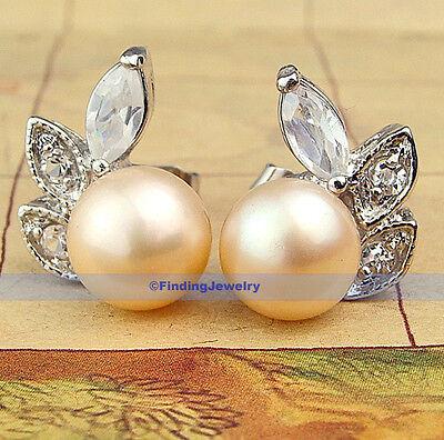 $220 Genuine AAA 8mm Pink Freshwater Pearl Stud Earring | -