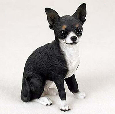 CHIHUAHUA DOG Figurine Statue Hand Painted Resin Gift Pet Lovers Black White
