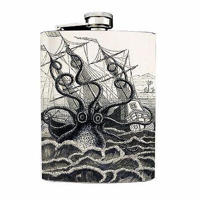 Kraken Vintage Octopus Design 02 Flask 8oz Stainless Steel Ship Attack B&W
