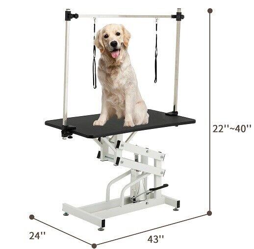 "SUNCOO 43""  Dog Cat Pet Grooming Table Adjustable Mesh Tray Hydraulic Folding"