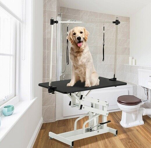 """Cat Dog Adjustable Pet Grooming 43"""" Hydraulic Folding  Arm Noose Mesh Tray Table"""