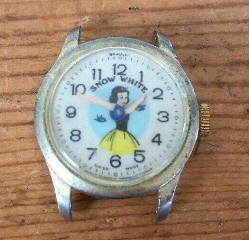 Vintage Bradley Disney Swiss Made Snow White Wind Up Wrist Watch Clock Face ONLY