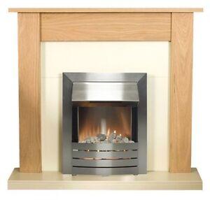 Electric Led Fire Oak Fireplace Surround Set Ivory Back